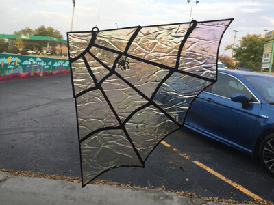 Stained Glass Iridescent Spider Web