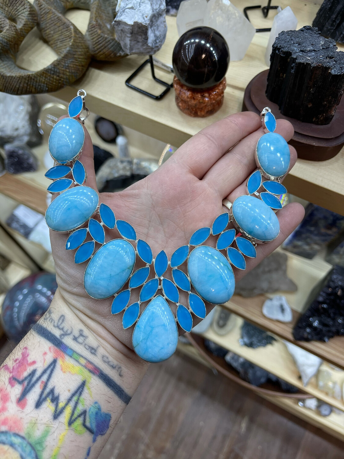 Caribbean Larimar and Blue Chalcedony  Necklace