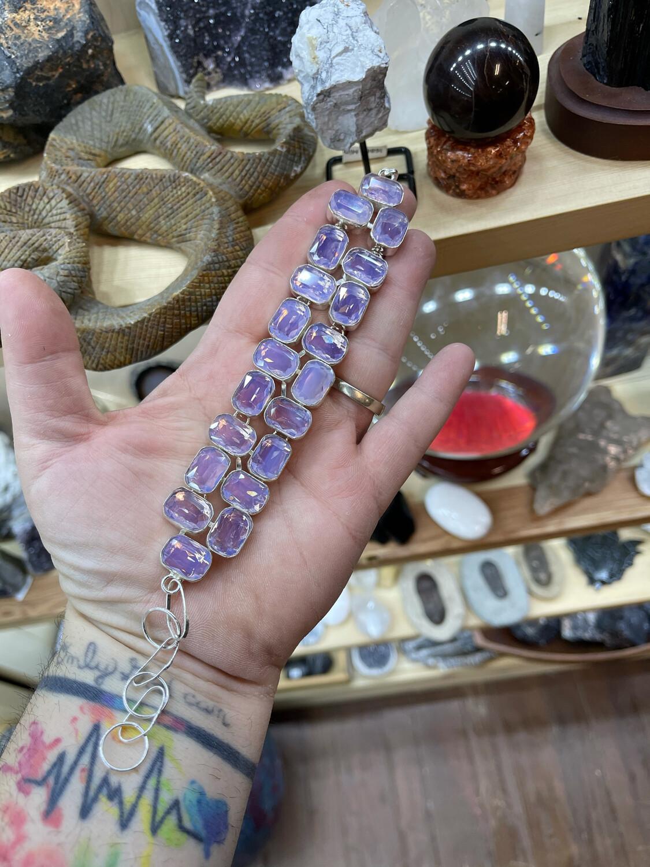 Faceted Pink Milky Opal Bracelet