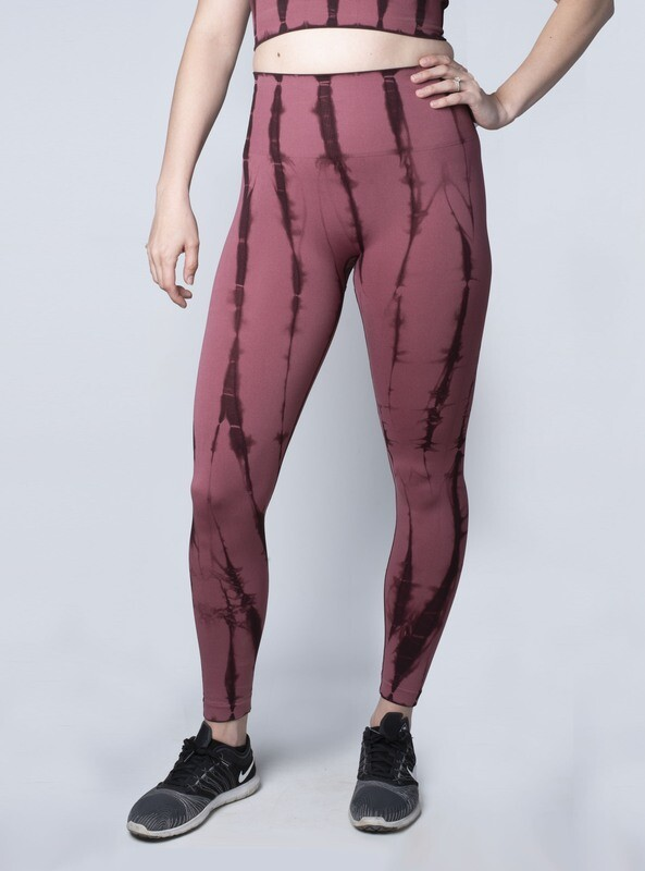 Küra Tie-Dye High-Waist Seamless Leggings- Merlot