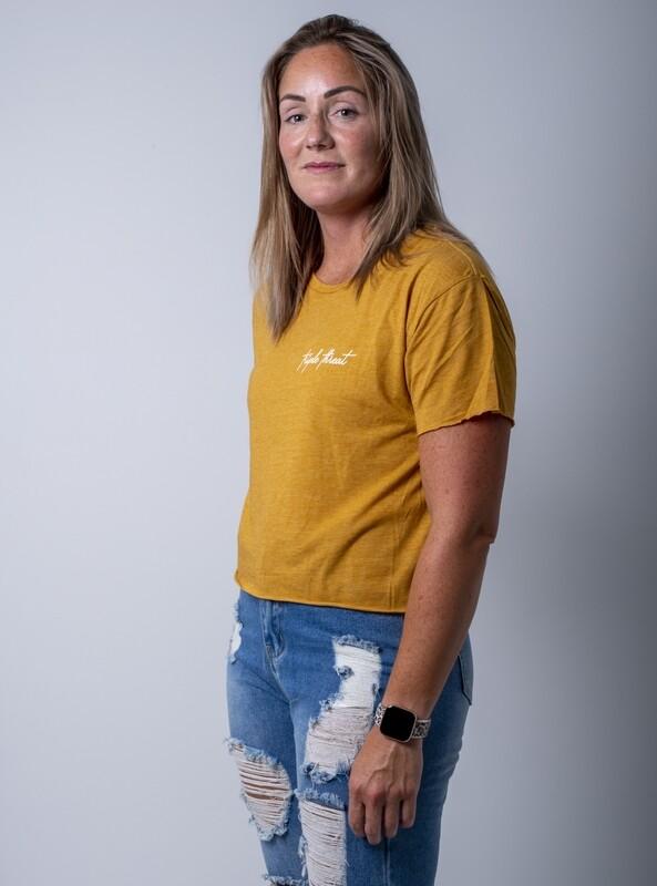Cascara Signature Crop T-Shirt- Antique Gold