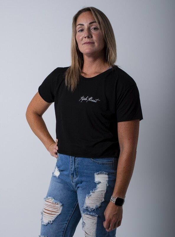 Cascara Signature Crop T-Shirt- Black