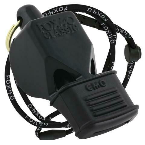 Fox40 Classic Whistle Black CMG With Lanyard