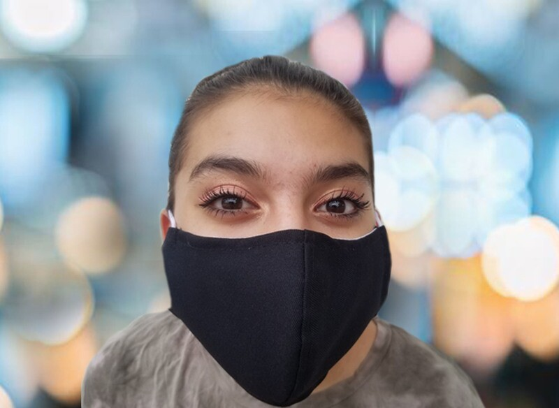 Face Mask-Black with White Liner, 100 pack