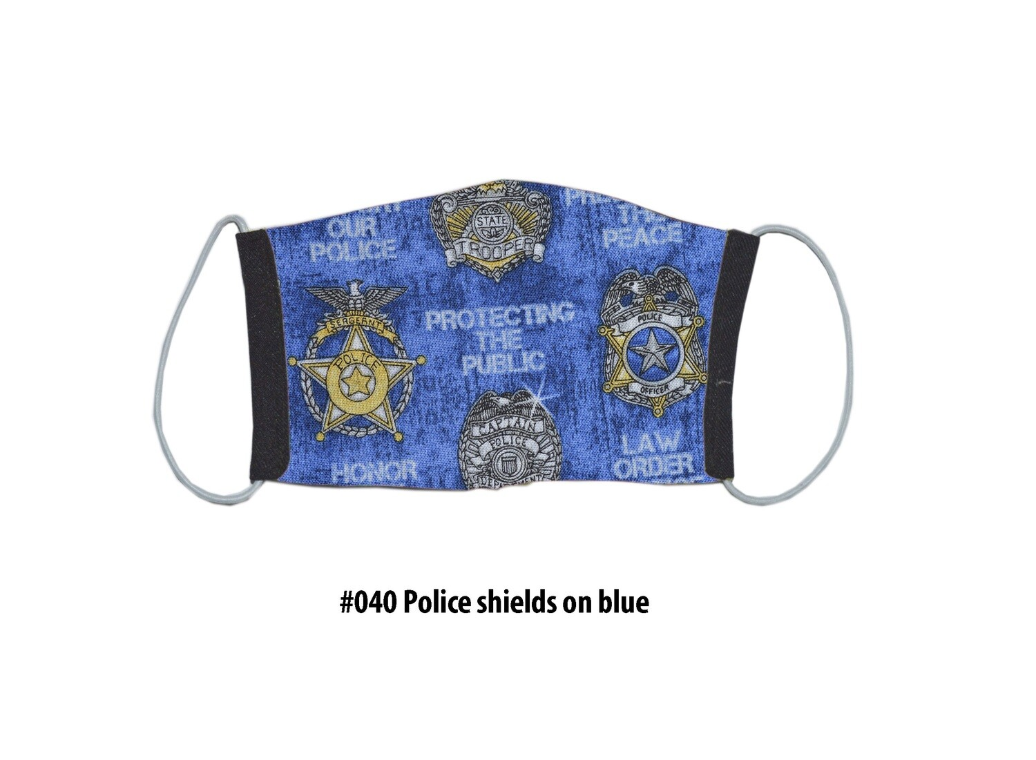 Face Mask-Black With Blue Police Shields, 1 pack