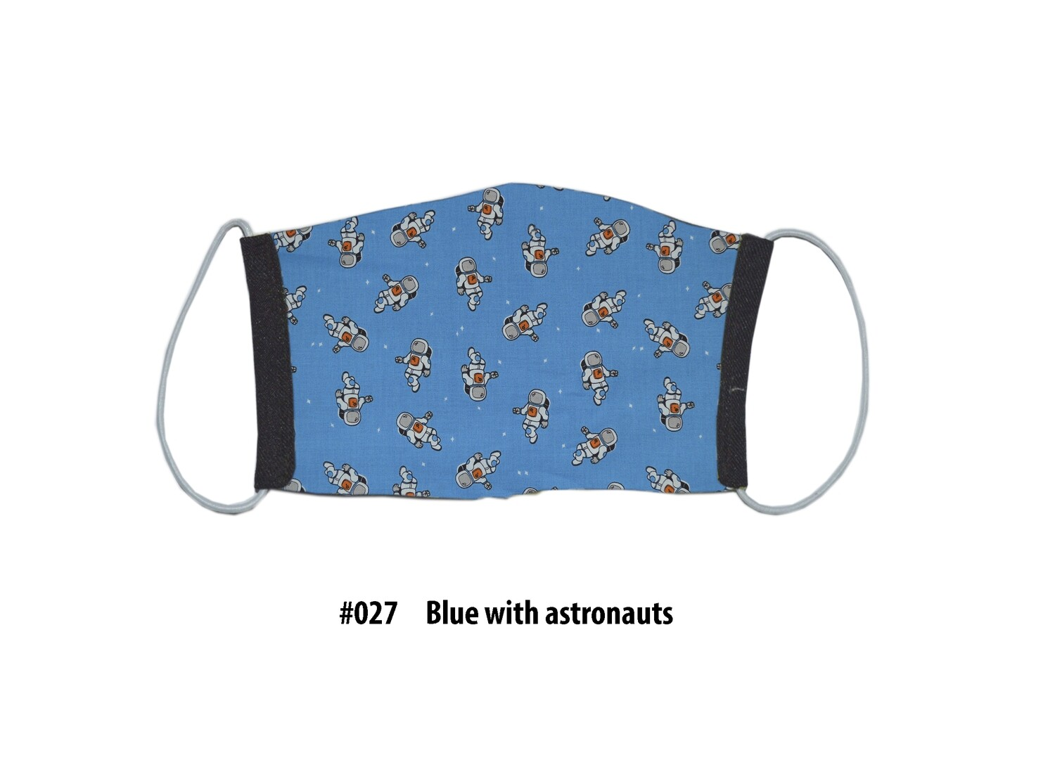 Face Mask-Black With Blue Astronauts, 1 pack
