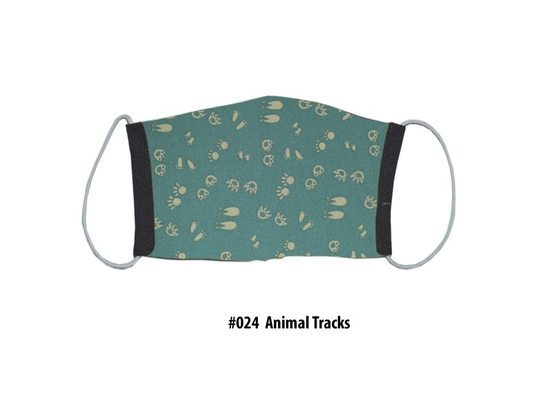 Face Mask-Black with Animal tracks- 1 pack