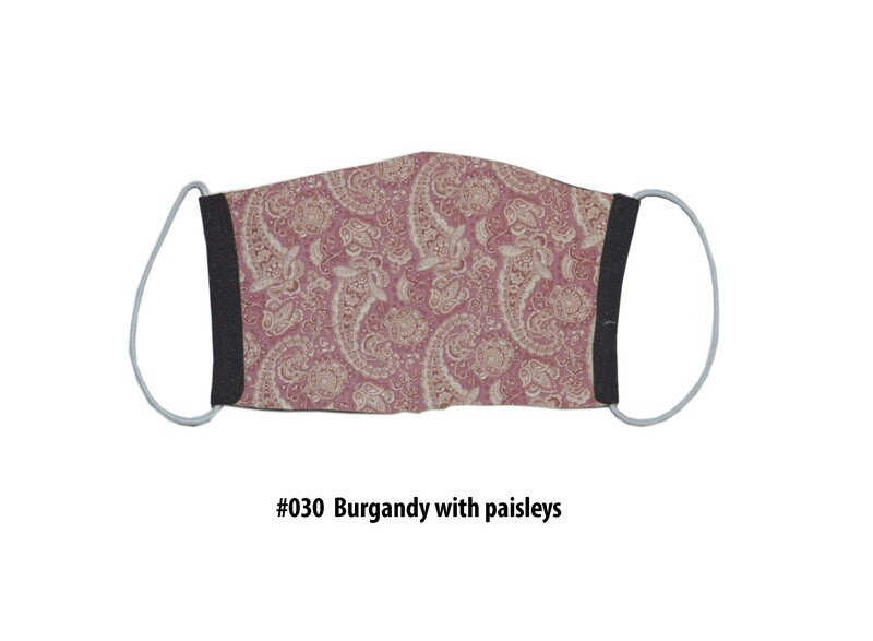 Face Mask-Black with Burgundy & Paisleys 1 pack