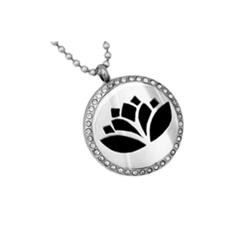 Diffusing Magnetic Lotus Pendant with Crystals - includes Two Leather Inserts