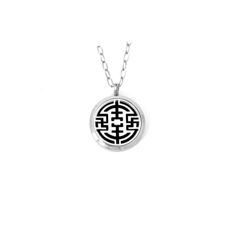 Diffusing Magnetic Geometric Maze Pendant - includes Two Leather Inserts