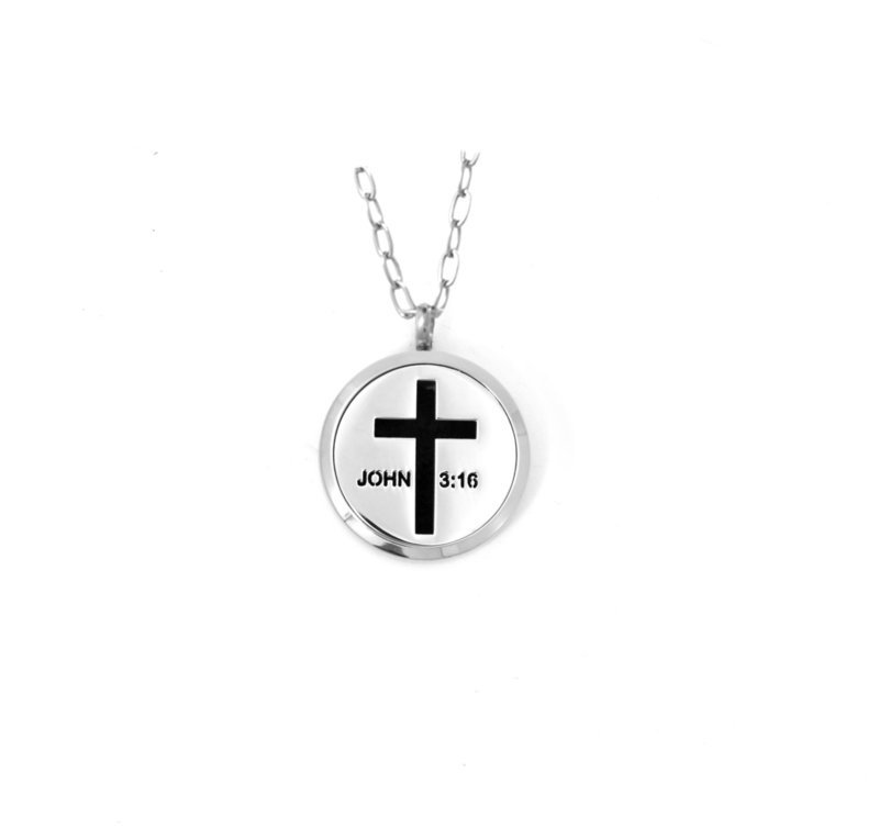 Diffusing Magnetic Cross - John 3:16 Pendant - includes Two Leather Inserts