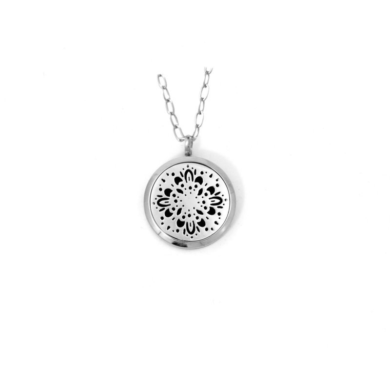 Diffusing Magnetic Starburst Mandala Pendant - includes Two Leather Inserts