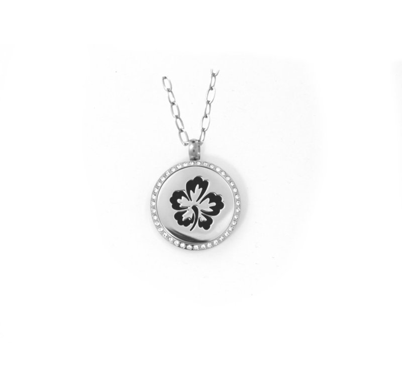 Diffusing Magnetic Hibiscus Pendant with Crystals - includes Two Leather Inserts