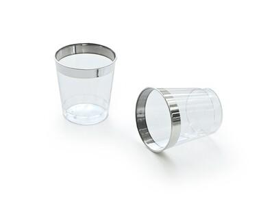 1 oz  Plastic Mini Shot / Kidush Cup, Clear Silver Rim - 2400 pcs -