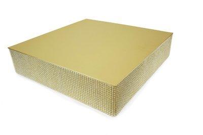 "16"" Square Rhinestone Cake Stand - GOLD, 6 pcs"