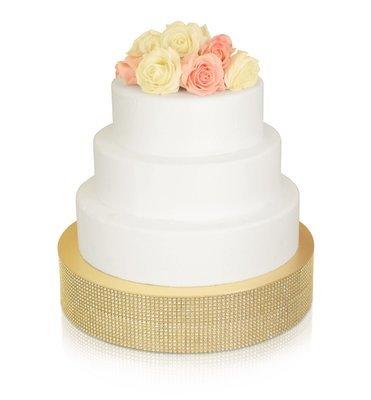 """14"""" Round Rhinestone Cake Stand - GOLD , 6 pcs"""