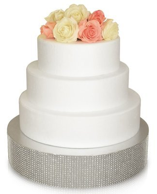 "12"" Round Rhinestone Cake Stand - SILVER, 6 pcs"