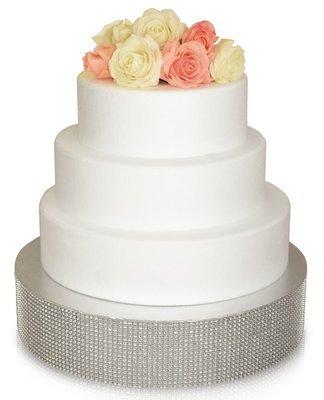 "14"" Round Rhinestone Cake Stand - SILVER, 6 pcs"