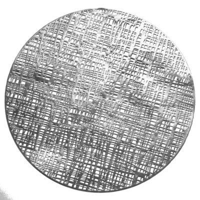Linen Design - Round Silver Pressed Vinyl Placemat