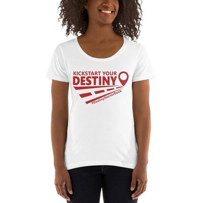 Ladies' Scoopneck T-Shirt with Red Print