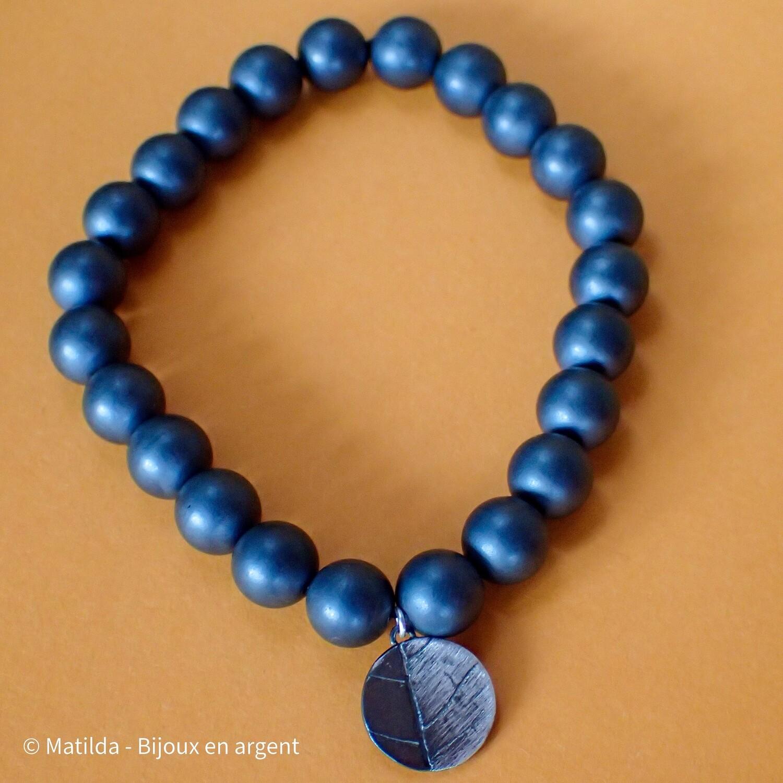 "Bracelet unisexe "" Frêne et hématite"""