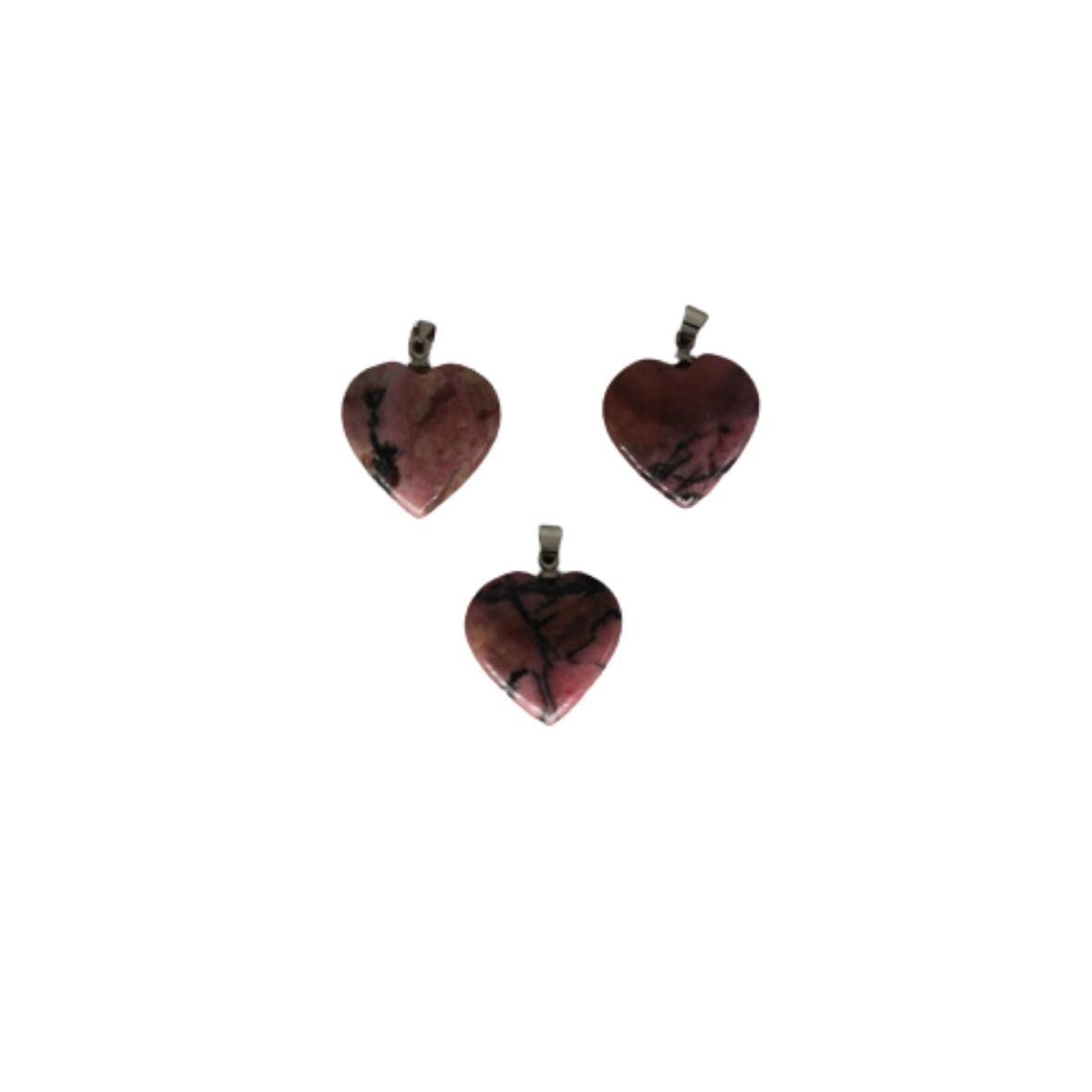 Pendentif coeur en rhodonite