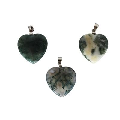 Pendentif  coeur en agate mousse 2 cm