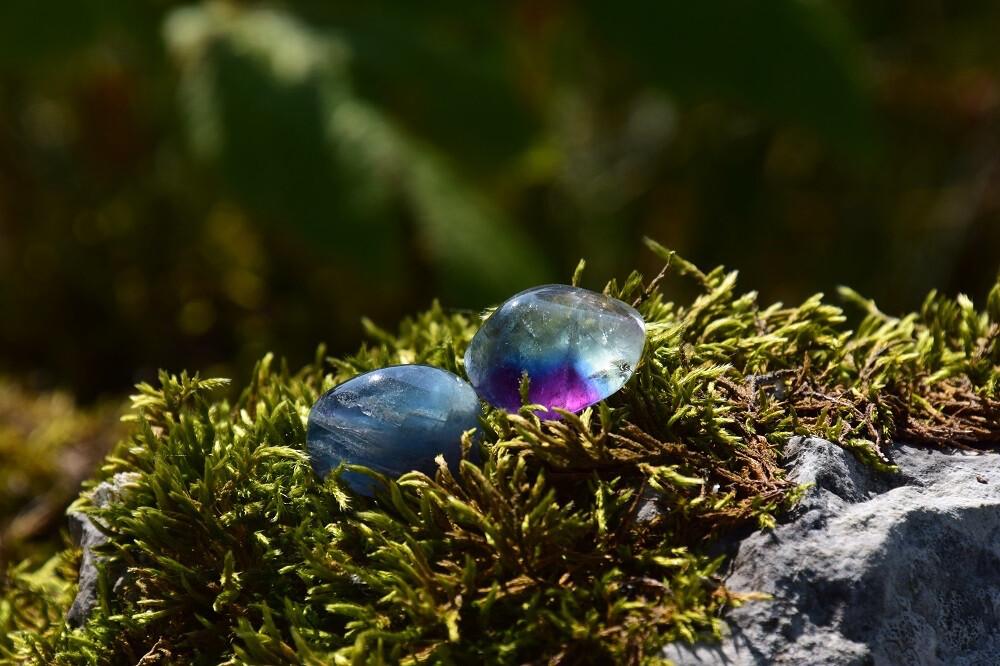Fluorite bleue roulée