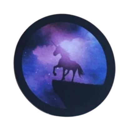 Plaque Tesla ronde Crystallium licorne autocollante pour portable