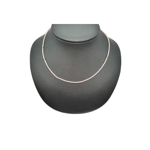 Collier faceté en opale rose
