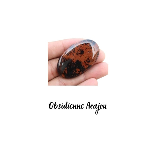 Cabochon ovale Obsidienne Acajou