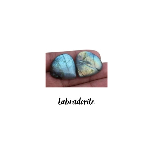 Paire de Cabochons goutte Labradorite