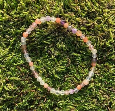 Bracelet combi améthyste-pierre du soleil - quartz 4-5mm facetté mm