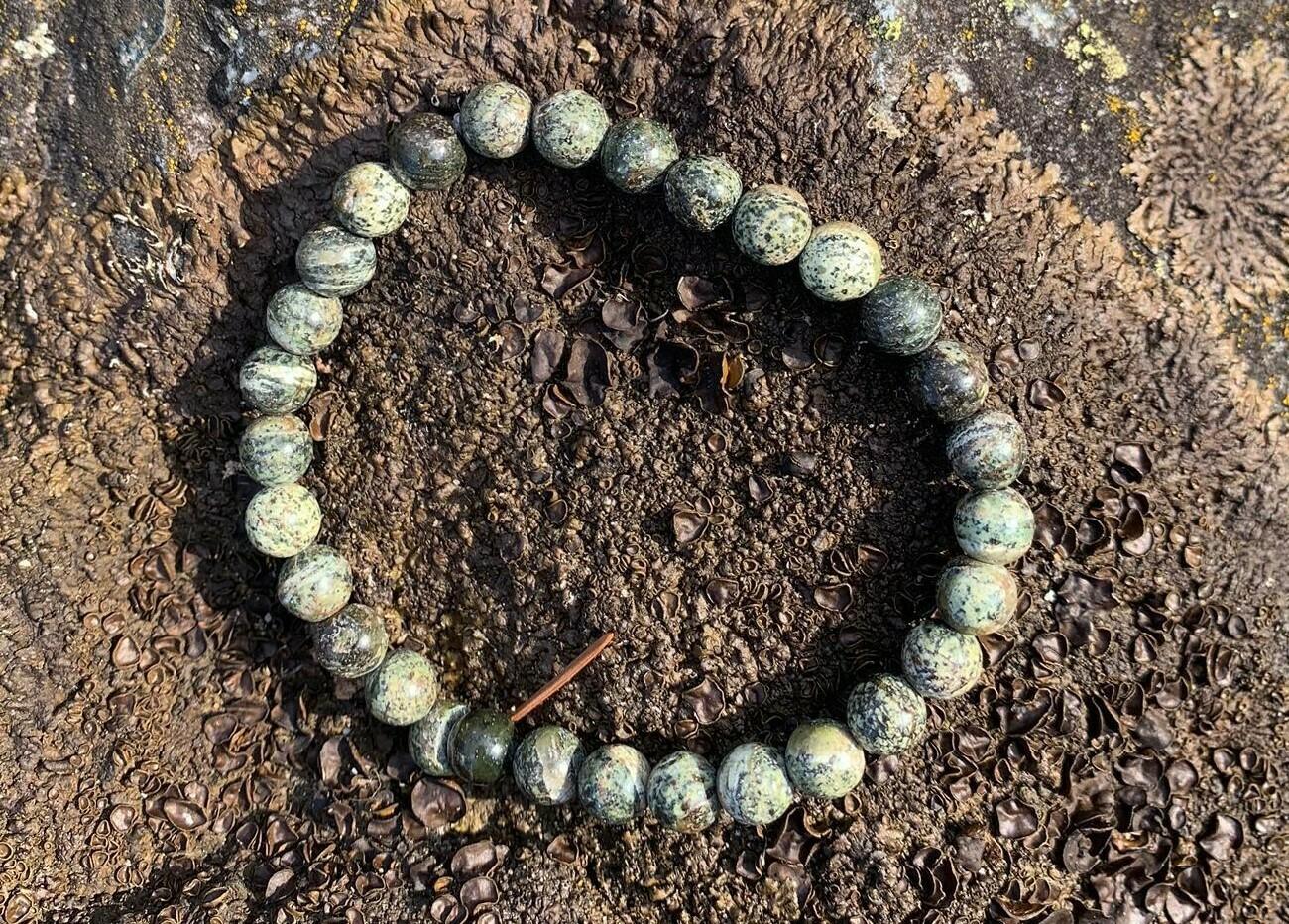Bracelet en Chrysotile / Serpentine oeil d'argent 8 mm