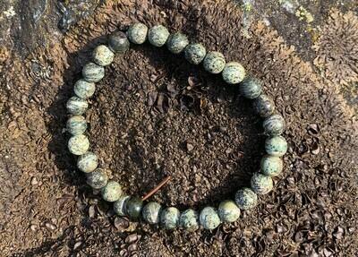 Bracelet en Chrysotile / Serpentine oeil d'argent 6 mm