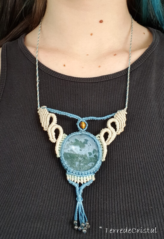 Collier macrame Agate mousse