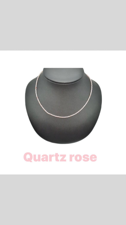 Collier facetté en quartz rose
