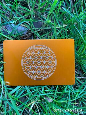 Plaque Tesla fleur de vie orange format carte de crédit
