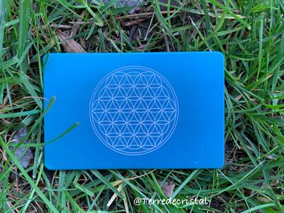Plaque Tesla fleur de vie bleu clair format carte de crédit