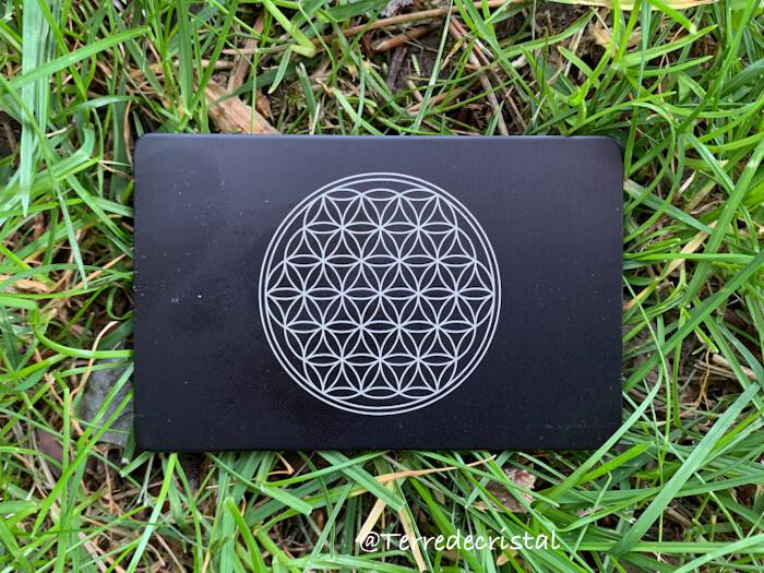 Plaque Tesla fleur de vie crystallium noire format carte de crédit