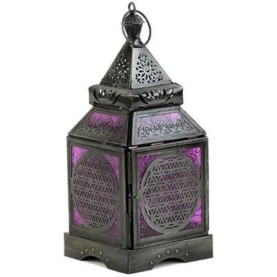 Lanterne orientale violette fleur de vie