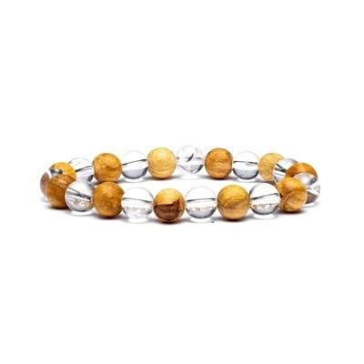 Bracelet en Cristal de Roche et Palo Santo 8 mm