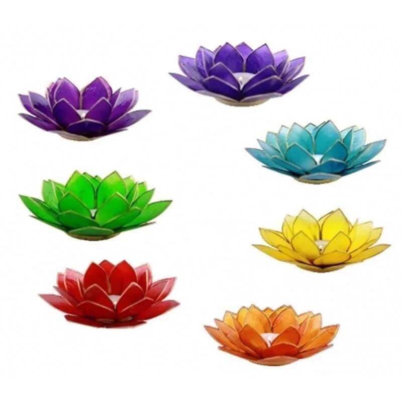 Set 7 de bougeoirs lotus Chakras