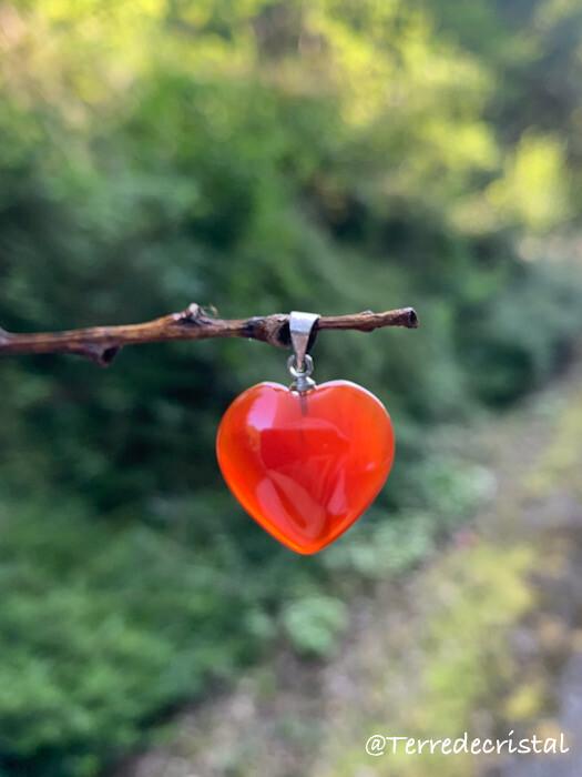 Pendentif  coeur en Cornaline