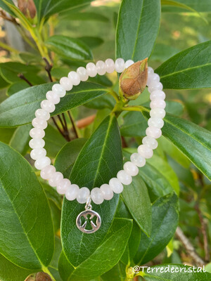 Bracelet en Quartz rose rondelles 6 mm, ange
