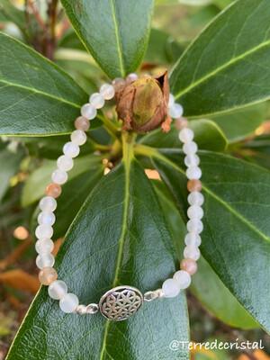 Bracelet fleur de vie en pierre de lune 4 mm