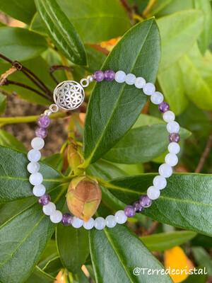 Bracelet Fleur de vie en Angélite et améthyste 4mm