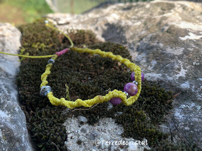 Bracelet macramé «lépidolite»