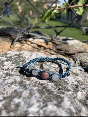Bracelet macramé «rhodonite»
