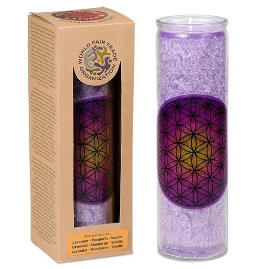 Bougie fleur de vie violette aux huiles essentielles